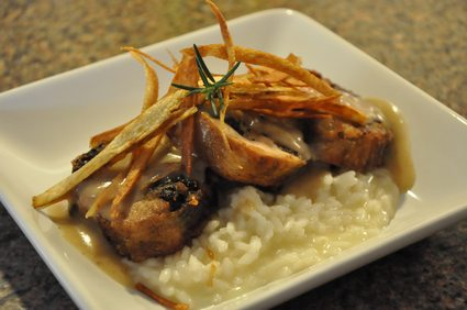 Mushroom Rosemary Stuffed Quail with Risotto 1
