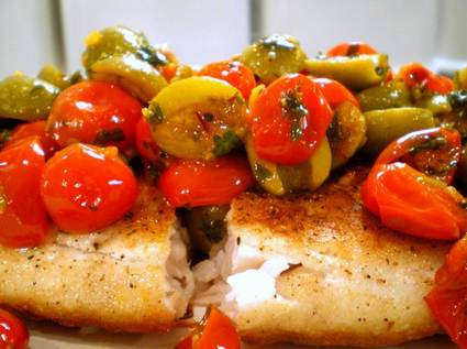 Red Snapper with Tomatoes, Olives and Saffron Vinaigrette 1