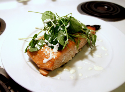 Roasted Salmon with Watercress-Herb Salad 1