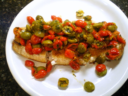 Red Snapper with Tomatoes, Olives and Saffron Vinaigrette 2